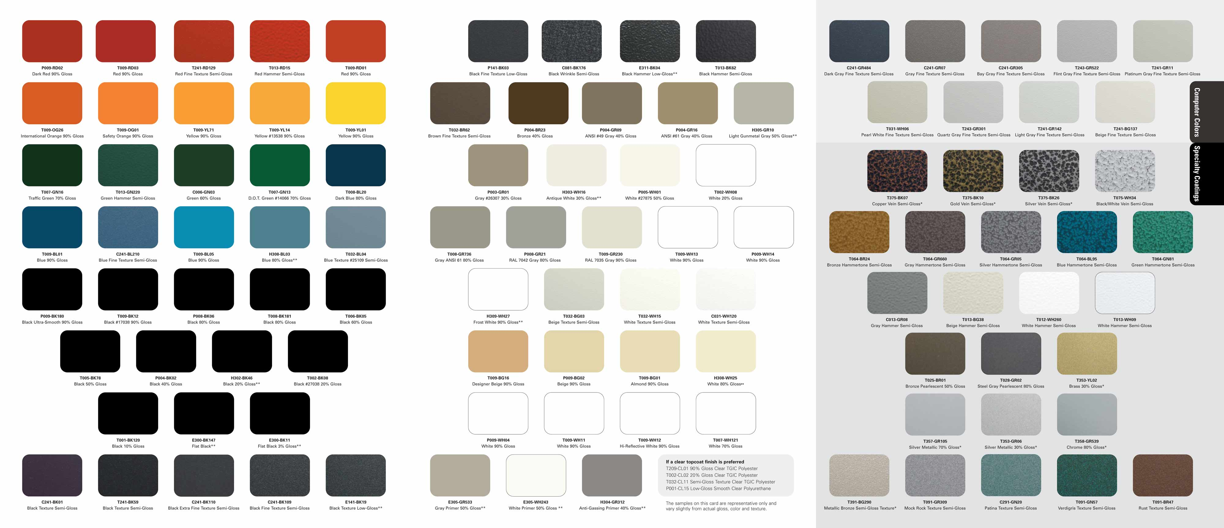 Powder Coat Paint Color Chart Paint Color Ideas